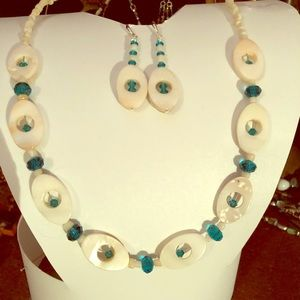 Swarovski Crystal, MOP, Coral Necklace & Earrings